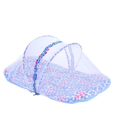 Babyhug Mosquito Net With Mattress And Pillow Blue - Floral Print