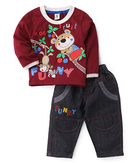 Cucumber Full Sleeves T-Shirt And Jeans - Maroon