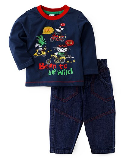 Cucumber Full Sleeves T-Shirt And Jeans - Navy