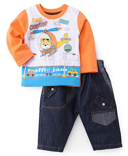 Cucumber Full Sleeves T-Shirt And Jeans Set - Helicopter Print