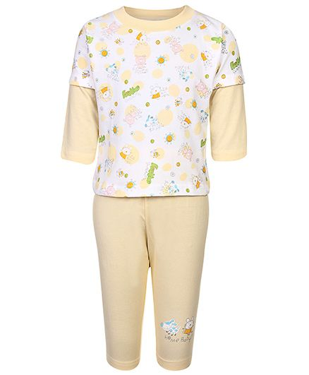 Cucumber Doctor Sleeves T-Shirt And Leggings Night Suit - Multi Print