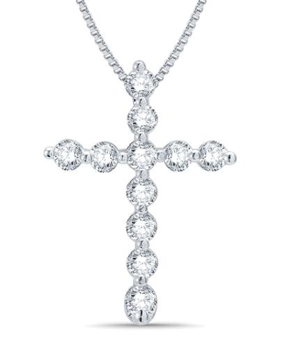 Mani Jewel 14Kt White Gold Christmas Diamond Pendant - Cross