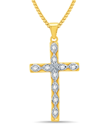 Mani Jewel 14Kt Gold Christmas Pendant - Diamond Cross