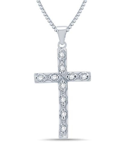 Mani Jewel 14Kt White Gold Christmas Pendant - Diamond Cross