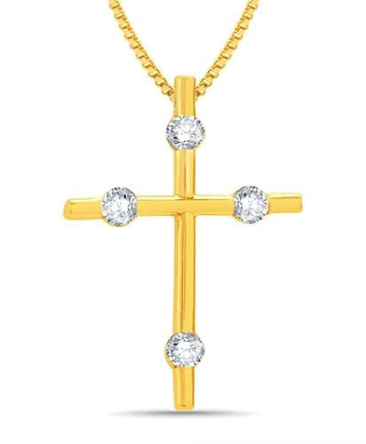 Mani Jewel 14Kt Gold Christmas Pendant - Golden Cross