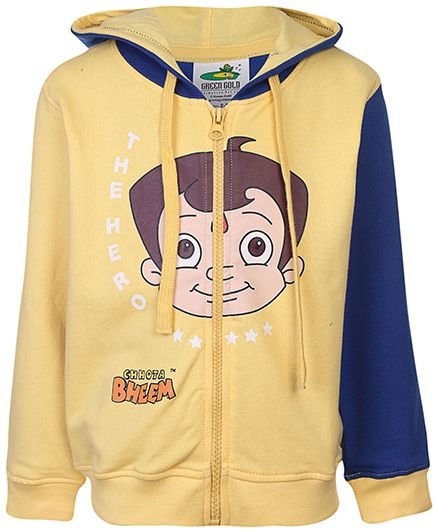 Chhota Bheem Full Sleeves Hooded Sweat Jacket - Yellow And Blue
