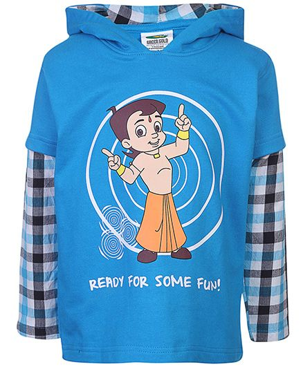 Chhota Bheem Hooded Sweatshirt Doctor Sleeves - Blue
