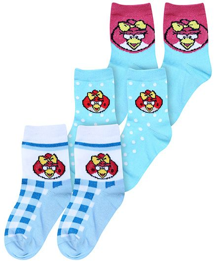 Angry Birds Multicolor Socks - Pack Of 3