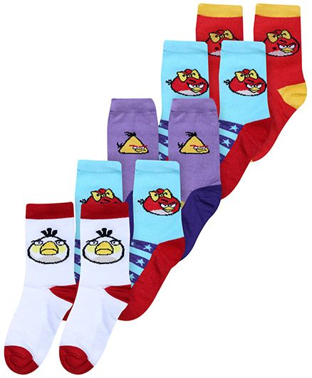 Angry Birds Multicolor Socks - Pack Of 5