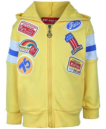 Noddy Hooded Sweat Jacket Full Sleeves - Yellow