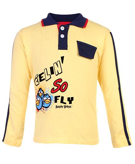 Angry Bird Full Sleeves Collar Neck T-Shirt - Yellow