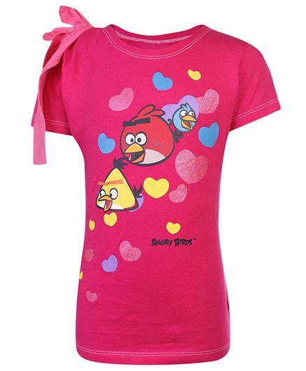 Angry Birds Half Sleeves Printed Top - Pink