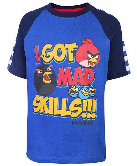Angry Birds Half Sleeves Printed Top - Blue
