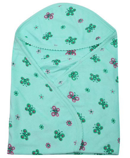 Tinycare Hooded Baby Towel Green - Butterfly Print