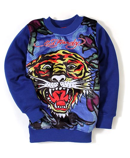 Ed Hardy Full Sleeves Sweatshirt Tiger Print - Royal Blue