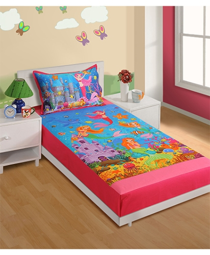 Swayam Digital Print Baby Bed Sheet And Pillow Cover - Set Of 2