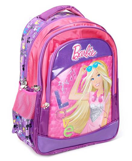 Barbie Backpack Printed Pink And Purple - 17 Inches