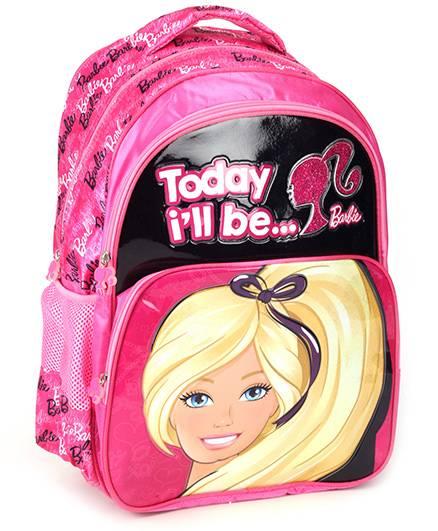 Barbie Shoulder Bag Printed Pink And Black - 18 Inches