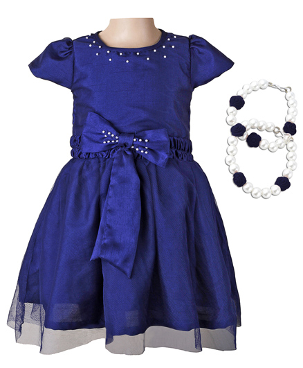 Littleopia Partywear Beaded Dress With Pair Of Bracelets - Ink Blue