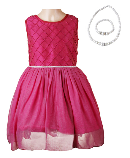 Littleopia Partywear Dress With Pintuck Cross Formation and Beaded Necklace And Bracelet - Pink
