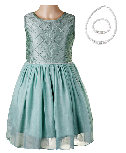 Littleopia Partywear Dress With Pintuck Cross Formation And Beaded Necklace And Bracelet - Green