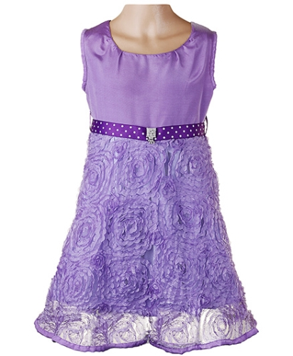 Littleopia Partywear Floral Embroidered Dress With Brooch On Waist Belt - Purple