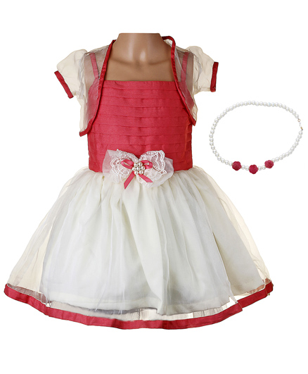 Littleopia Partywear Dress With Shrug And Beaded Necklace - Peach
