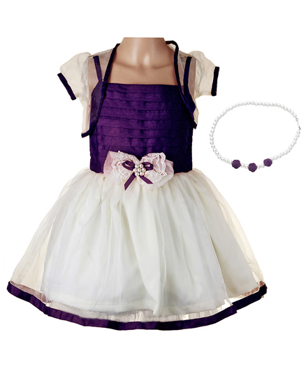 Littleopia Partywear Dress With Shrug And Beaded Necklace - Purple