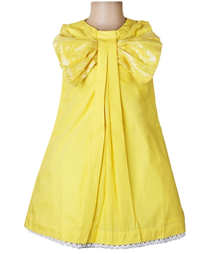 Littleopia Party A Line Dress With Sequined Bow - Yellow