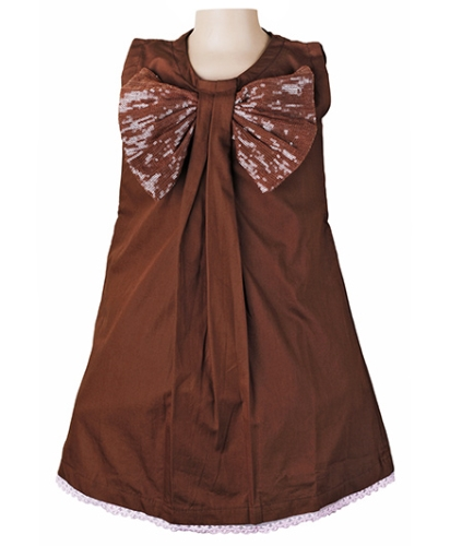 Littleopia Party A Line Dress With Sequined Bow - Brown
