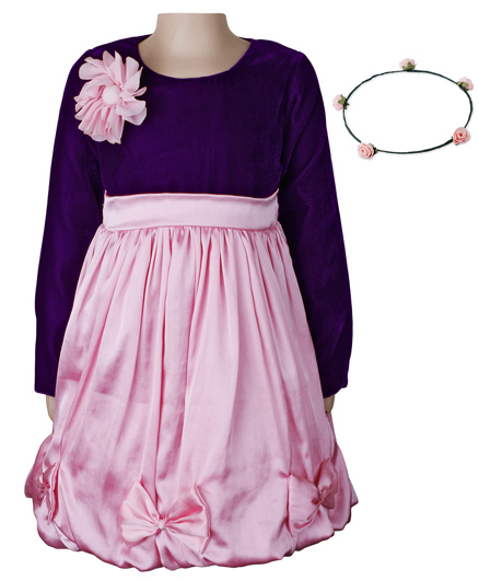 Littleopia Velvet and Satin Party Dress With Tiara - Baby Pink