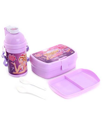Barbie Lunch Box And Water Bottle Combo Set - Purple