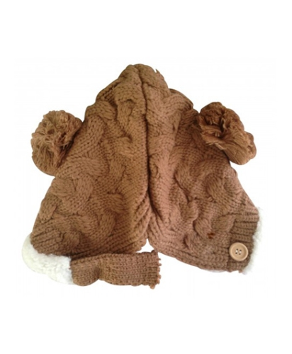 NeedyBee Knitted Winter Cap - Brown