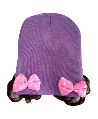 NeedyBee Acrylic Cap With Hair Extensions - Purple
