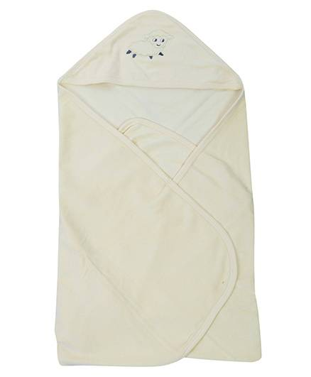 Babyhug Hooded Towel Cream - Sheep Patch