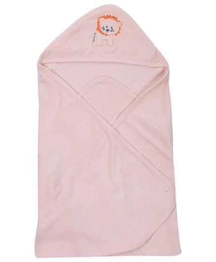 Babyhug Hooded Towel Peach - Lion Patch