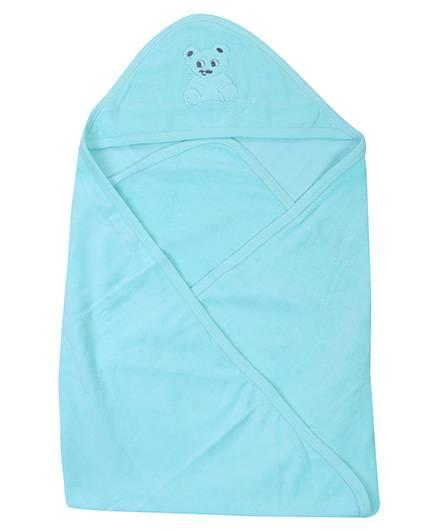 Babyhug Hooded Towel Green - Bear Patch