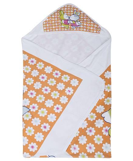 Babyhug Hooded Towel Orange - Floral Print