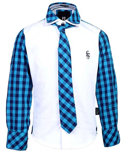 Finger Chips Party Shirt With Tie - Check Pattern
