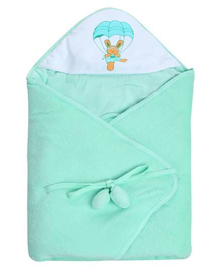 Tinycare Hooded Towel Deluxe Light Green - Parachute Print