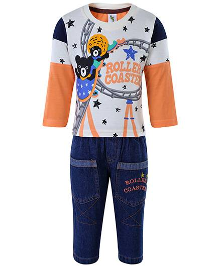 Cucumber Full Sleeves T-Shirt And Jeans - Roller Coaster Print