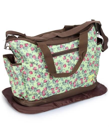 Mee Mee Nursery Bag Rose Print - Green And Dark Brown