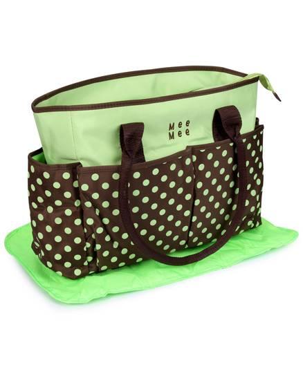 Mee Mee Nursery Bag Polka Dots - Green And Dark Brown