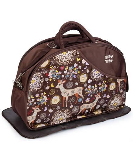 Mee Mee Nursery Bag Deer And Multi Print - Dark Brown