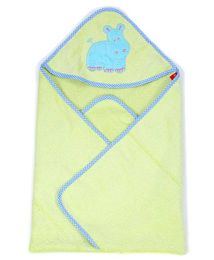 Sapphire Hooded Towel Hippopotamus Patch - Green
