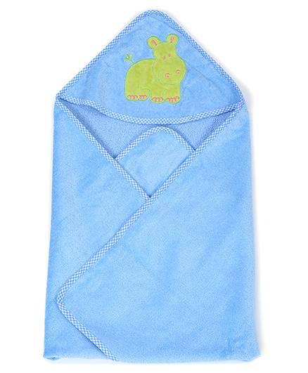 Sapphire Hooded Towel Hippopotamus Patch - Blue