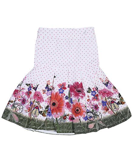 Babyhug Floral Print Skirt - White