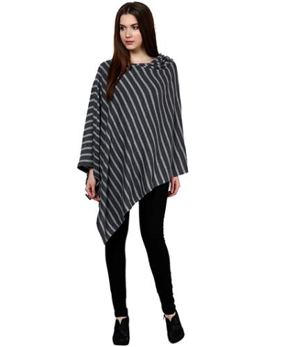Pluchi Fashion Knitted Cotton Poncho Garnet - Dark Grey And Light Grey Marl