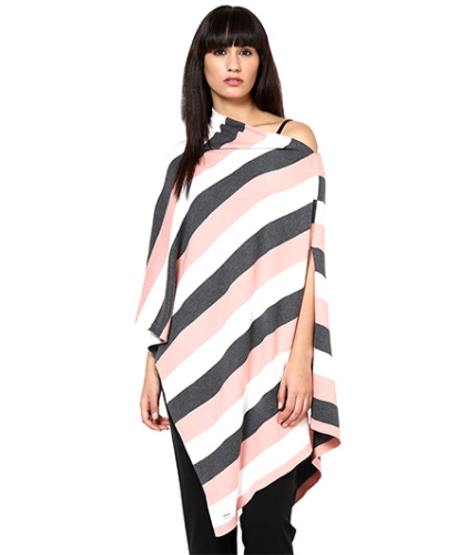 Pluchi Fashion Knitted Cotton Poncho Jenny - Grey, Blossom And Ivory