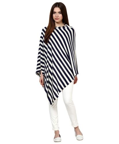 Pluchi Fashion Knitted Cotton Poncho Kia Navy And Ivory